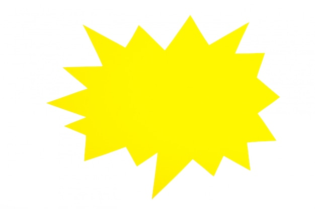 Kolor żółty mowy papierowi bąble odizolowywający na białym tle