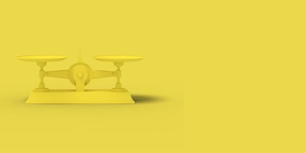 Kolor żółty waży na żółtym tle. abstrakcyjny obraz. minimalna koncepcja biznesowa. renderowania 3d.