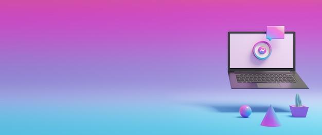 Kolorowa ikona komunikatora na 3d renderowanym ekranie laptopa