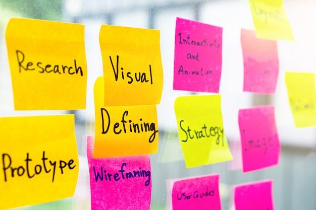 Kolorowa kleista notatka na szklanej biuro ścianie z słowem odnosił sie graficznego projekt
