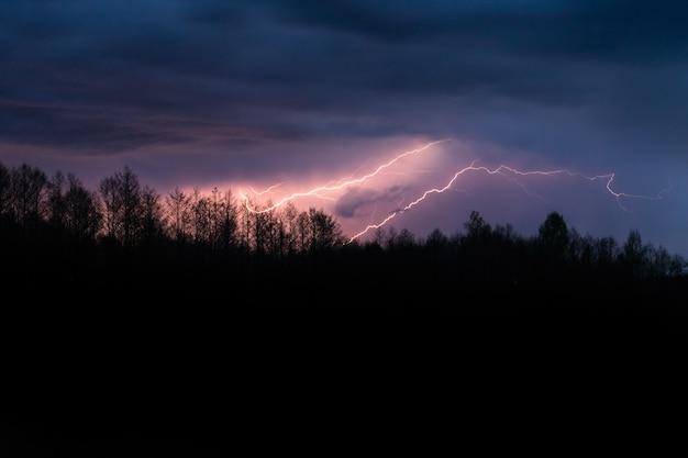 Kolorowa letnia burza z piorunami nad lasem w nocy. spektakularne oświetlenie uderza w niebo