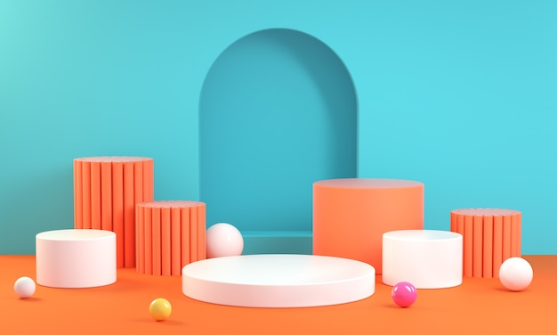 Kolorowa letnia geometria kroku na podium