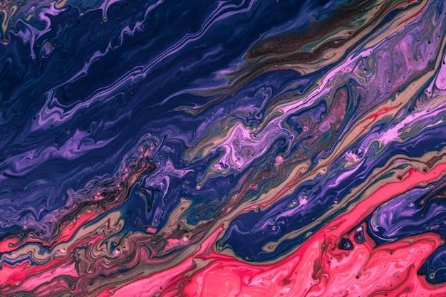 Kolorowa niebieska i czerwona mieszanka żywych kolorów akrylowych