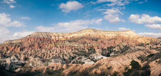 Kolorowa różana dolina z niebieskim niebem w kapadocja