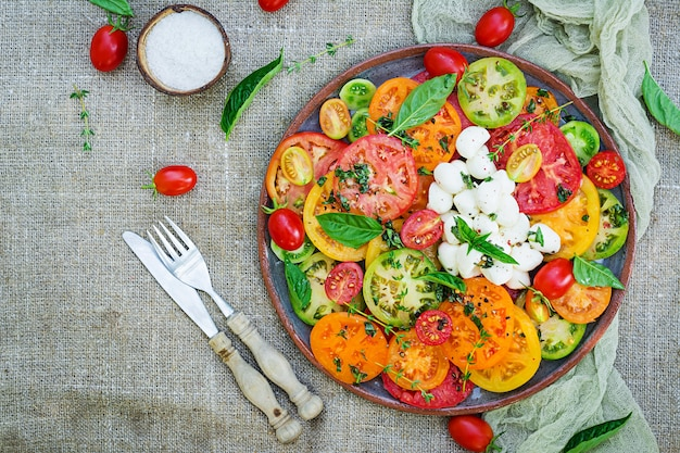 Kolorowa sałatka pomidorowa z mozzarellą serową i bazylią. sałatka caprese. wegańskie jedzenie. widok z góry