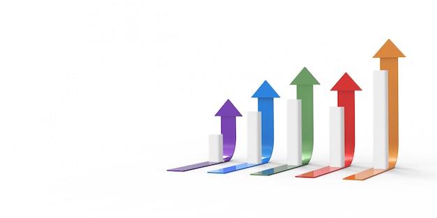 Kolorowa strzałka i wykres. rosnąca koncepcja biznesowa. renderowania 3d.