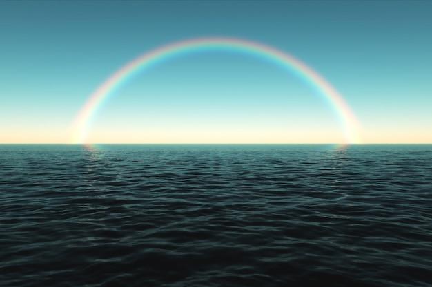 Kolorowa tęcza nad morzem