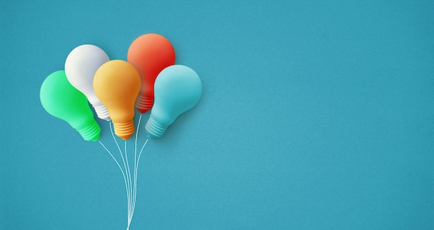Kolorowa żarówka balonowa jako koncepcje kreatywności