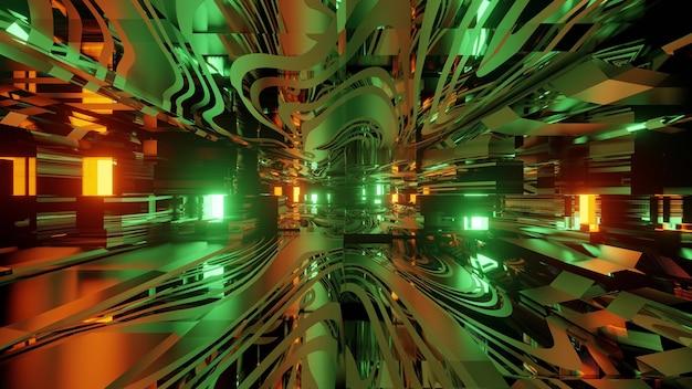 Kolorowe 3d ilustracji abstrakcyjne tło wewnątrz futurystycznego wirtualnego tunelu z neonów i szkła lustrzanego struktury