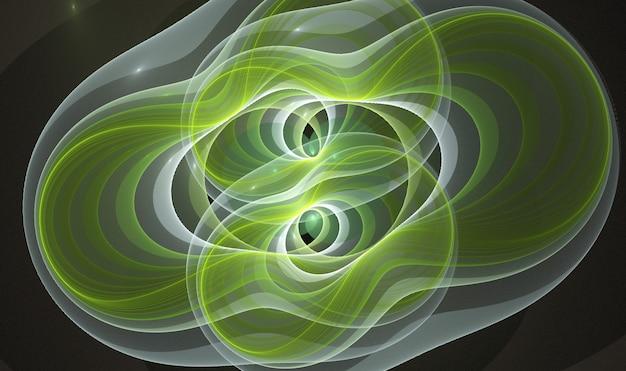Kolorowe abstrakcyjne okrągłe krzywe i linie na czarnym tle