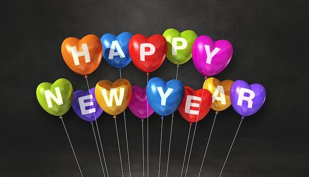 Kolorowe balony kształt serca szczęśliwego nowego roku na czarnym tle betonu. baner poziomy. renderowanie ilustracji 3d