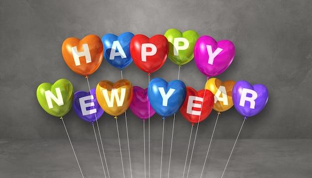 Kolorowe balony kształt serca szczęśliwego nowego roku na szarym tle betonu. baner poziomy. renderowanie ilustracji 3d