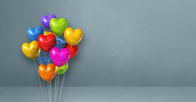 Kolorowe balony w kształcie serca kilka na tle szarej ścianie. renderowanie 3d
