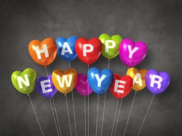 Kolorowe balony w kształcie serca szczęśliwego nowego roku na ciemności