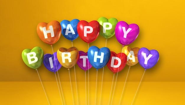 Kolorowe balony w kształcie serca z okazji urodzin na żółtej scenie. renderowanie ilustracji 3d