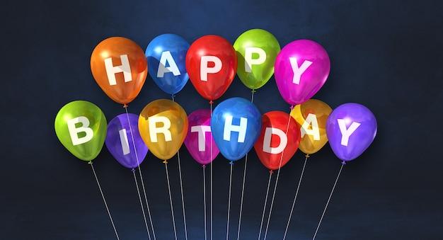 Kolorowe balony z okazji urodzin na czarnym tle sceny. baner poziomy. renderowanie ilustracji 3d