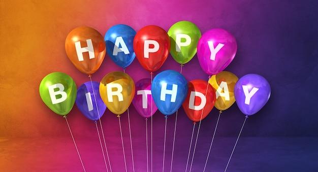 Kolorowe balony z okazji urodzin na scenie tęczy. . renderowanie ilustracji 3d