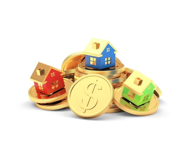 Kolorowe domy na stosie monet