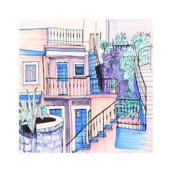 Kolorowe domy w manarola, ligury, włochy