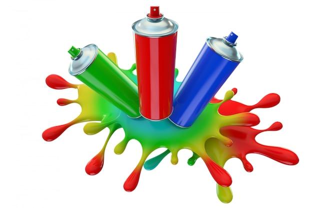 Kolorowe farb puszki na białym tle. koncepcja sztuki. renderowania 3d.