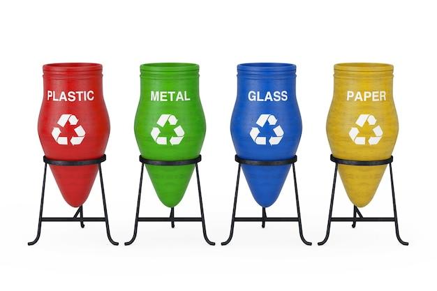 Kolorowe garnki na śmieci z gliny ze znakiem recyklingu i sortowania odpadów na białym tle. renderowanie 3d