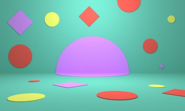 Kolorowe geometryczne kształty na scenie abstrakcyjne pastelowe tło dla brandingu plakatu internetowego