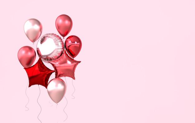 Kolorowe i złote balony foliowe na różowym tle.