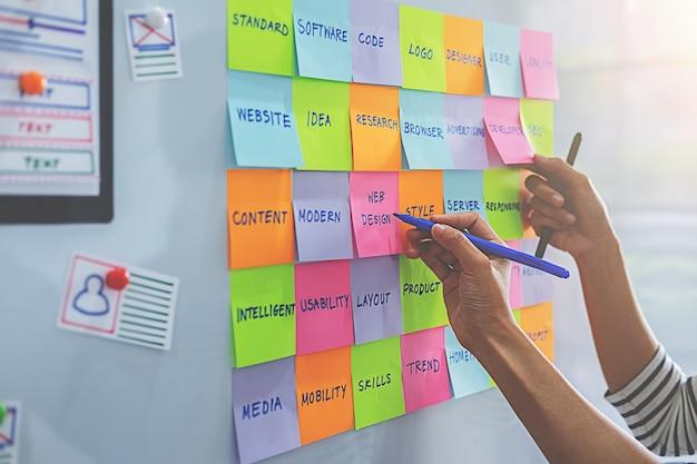 Kolorowe karteczki z rzeczy do zrobienia na pokładzie biura. koncepcja user experience (ux).