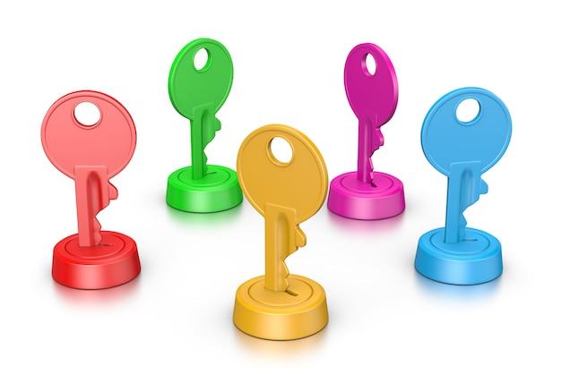Kolorowe klucze w zamku