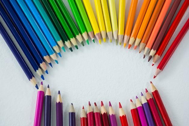 Kolorowe kredki ułożone w okrąg