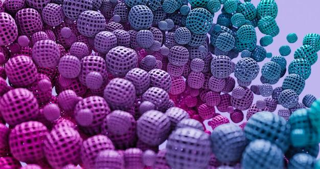 Kolorowe kształty geometryczne, kule. do umieszczenia logo i tytułu, wydarzenia, koncertu, prezentacji, witryny. abstrakcyjne tło 4k