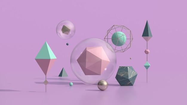 Kolorowe kształty geometryczne w szklanych bąbelkach. streszczenie ilustracji, renderowanie 3d.