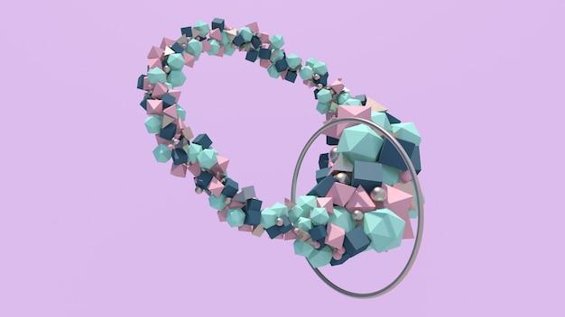 Kolorowe kształty i metalowy pierścionek. streszczenie ilustracji, renderowania 3d.