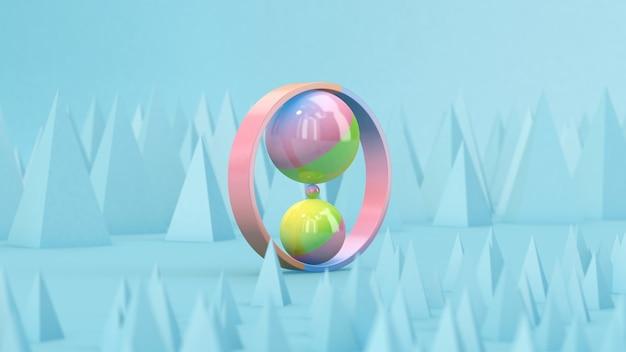 Kolorowe kulki i pierścionek. streszczenie ilustracji, renderowania 3d.
