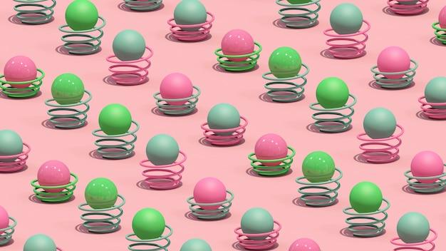 Kolorowe kulki i sprężyny. streszczenie ilustracji, renderowania 3d.
