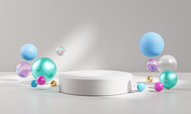 Kolorowe kulki na cokole podium wyświetlanie produktu renderowanie 3d