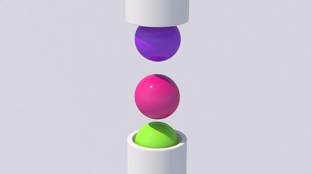 Kolorowe kulki wypadające z białej tuby. streszczenie ilustracji, renderowania 3d.