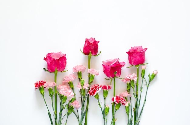 Kolorowe kwiaty na białej ścianie