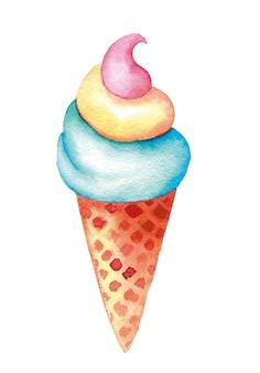 Kolorowe lody waniliowe, truskawkowe i miętowe w stożek wafel vintage akwarela ilustracja na białym tle