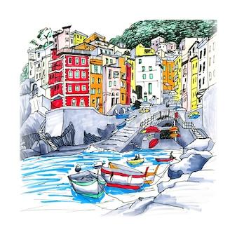 Kolorowe łodzie rybackie i zabawne domy w porcie riomaggiore w five land, parku narodowym cinque terre, liguria, włochy. markery wykonane z obrazka