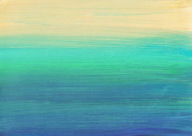 Kolorowe malarstwo abstrakcyjne. niebieski, żółty, turkusowy tekstury tła. lekka ombre. wielokolorowe miękkie paski na papierze.