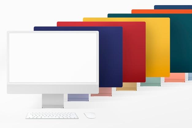 Kolorowe minimalne urządzenie cyfrowe na komputer stacjonarny z zestawem przestrzeni projektowej