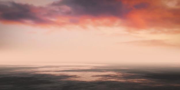 Kolorowe niebo z mokrej ziemi krajobrazem