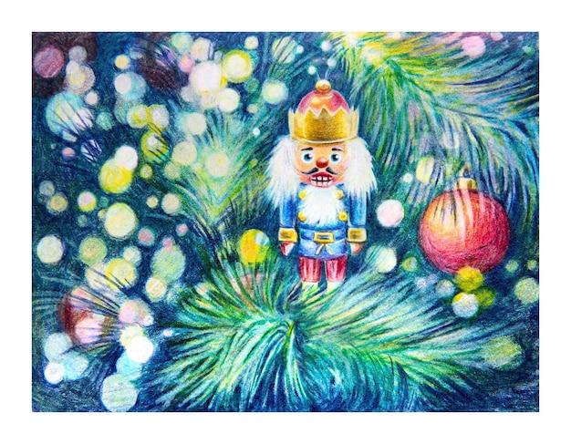 Kolorowe pemcils kartka świąteczna z zabawką do orzechów i ozdobioną choinką