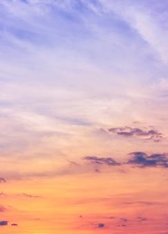 Kolorowe pionowe niebo o zachodzie słońca z różowym i pomarańczowym światłem słonecznym