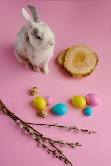 Kolorowe pisanki i królik na różowym tle