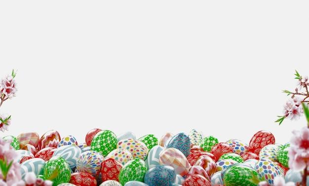 Kolorowe pisanki i prezenty, ilustracja renderowania 3d