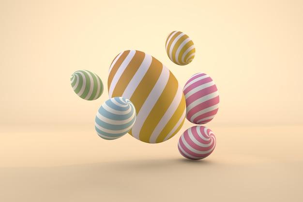 Kolorowe pisanki na pastelowym tle. renderowanie 3d pliku psd przezroczystym tłem
