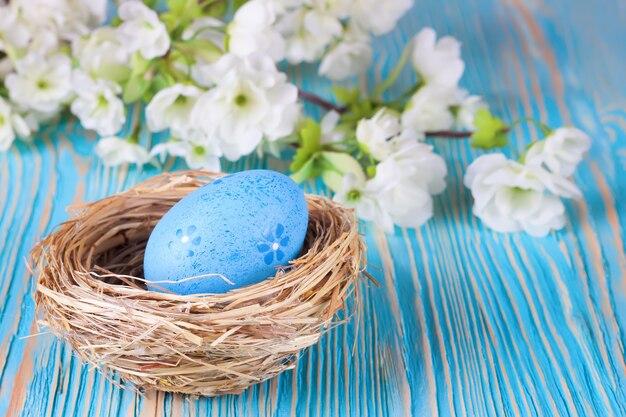 Kolorowe pisanki w gniazdo i gałąź z kwiatami na niebieskim tle drewnianych