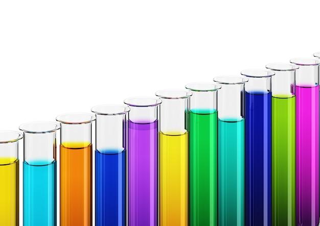 Kolorowe płyny w probówkach, 3d
